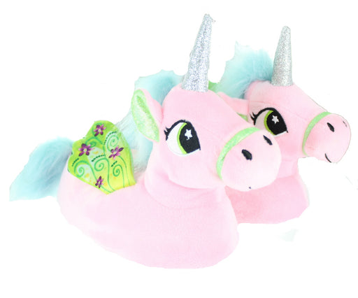 Children's Kids Girls Pastel Pink Unicorn Slippers With Wings