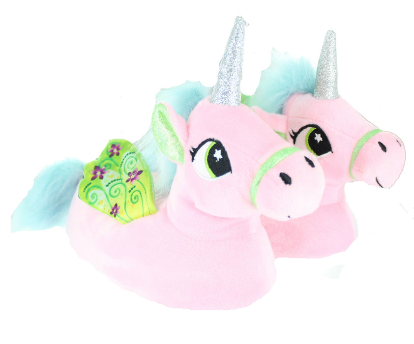 Children's Kids Girls Pastel Pink Unicorn Slippers With Wings-13-1