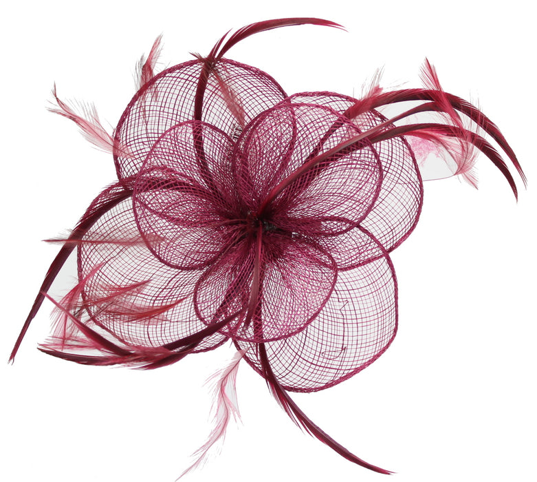 Burgundy Fascinator on Headband/ Clip-in for Weddings, Races and Occasions-6495