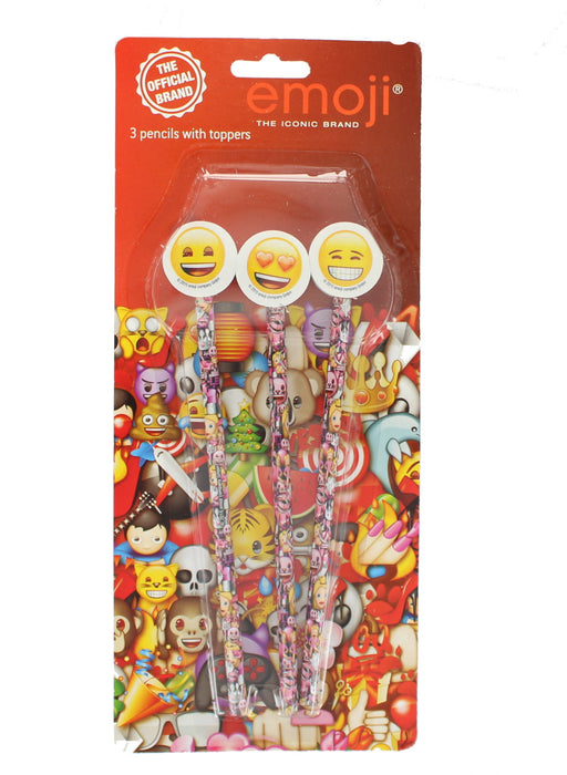 Emoji 3 Pencils Smiley Face Eraser Rubber Toppers Fun Kids Party Stationery Gift