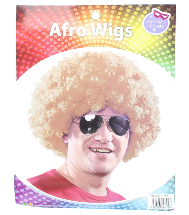 Adults Coloured Afro Wig Fancy Dress Accessory-Blonde