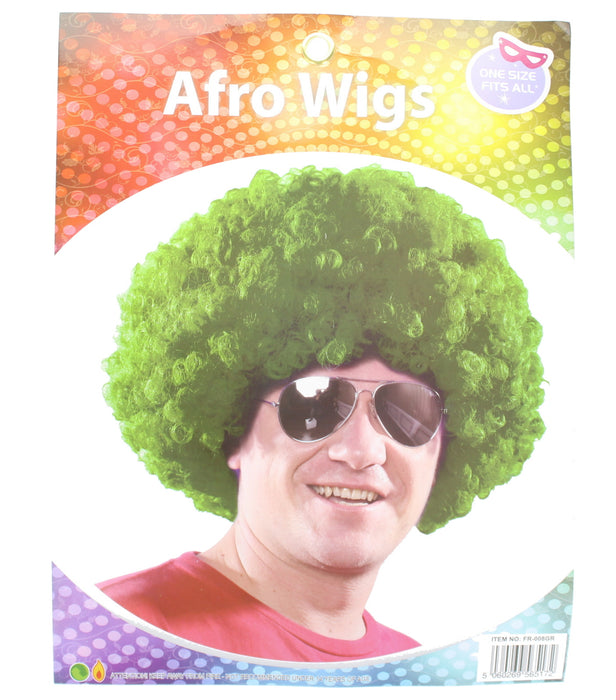 Afro Curly Wig Fancy Multi Colour Party Funky Clown Hair Disco Circus Fancy Dress-Green