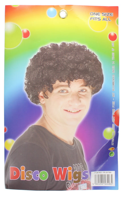 Adults Afro Disco Wig 70's Fancy Dress Accessory-Black
