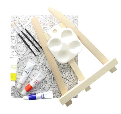 CraftMania Artist Easel Set Includes 2 Canvasses, 3 Brushes, 4 Paints & 1 Easel