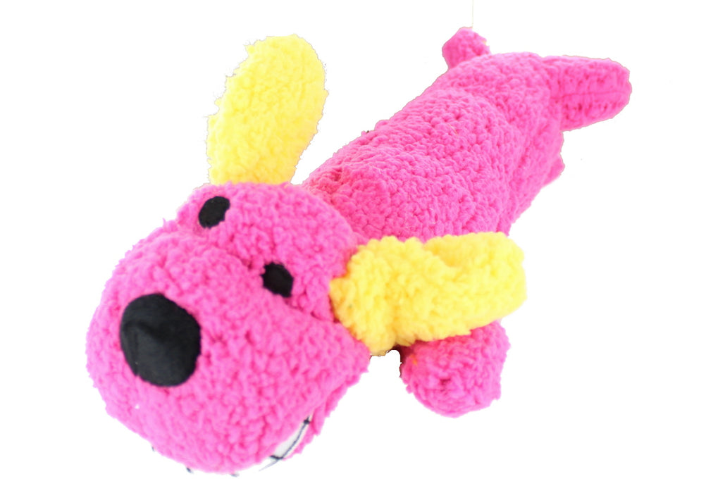 Playful Pets Plush Dog Neon Loofa Sausage Dog With Squeaker Pet Toy-Pink