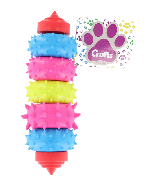 Crufts Blue, Pink & Green Colour Dental Teether Dog, Puppy Pet Ring Swivel Chew Toy
