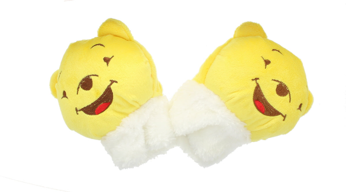 Childrens Novelty Yellow Bear Soft Fleecy Fingerless Animal Gloves