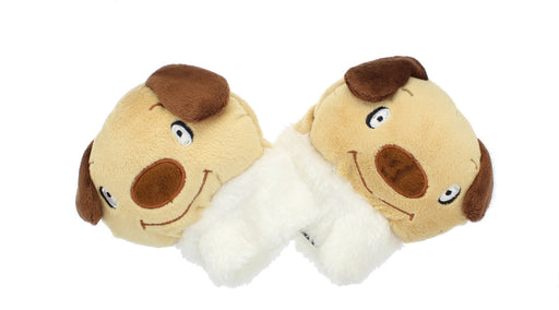 Childrens Novelty Brown Dog Soft Fleecy Fingerless Animal Gloves