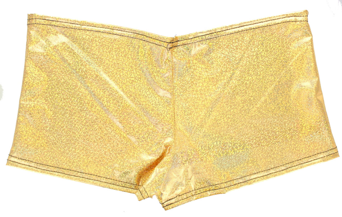 Adults Womens Girls Festival Foiled Holographic/Metallic Hot Pant Shorts-Gold