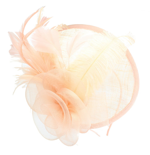 Peach Fascinator on Headband/ Clip-in for Weddings, Races and Occasions-4947