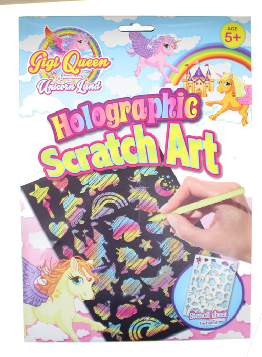 Children's Unicorn Holographic Scratch Art Set with 2 Cards, Stencil and Tool