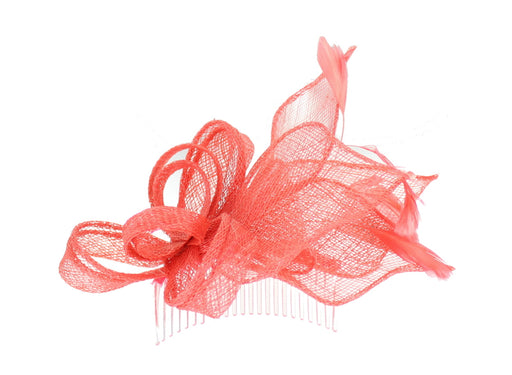Coral Fascinator on Headband/ Clip-in for Weddings, Races and Occasions-5845
