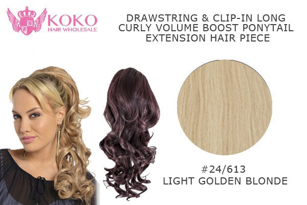 18� Drawstring & Clip-In Long Curly Volume Boost Ponytail Extension Hair Piece-#24/613 Light Golden Blonde