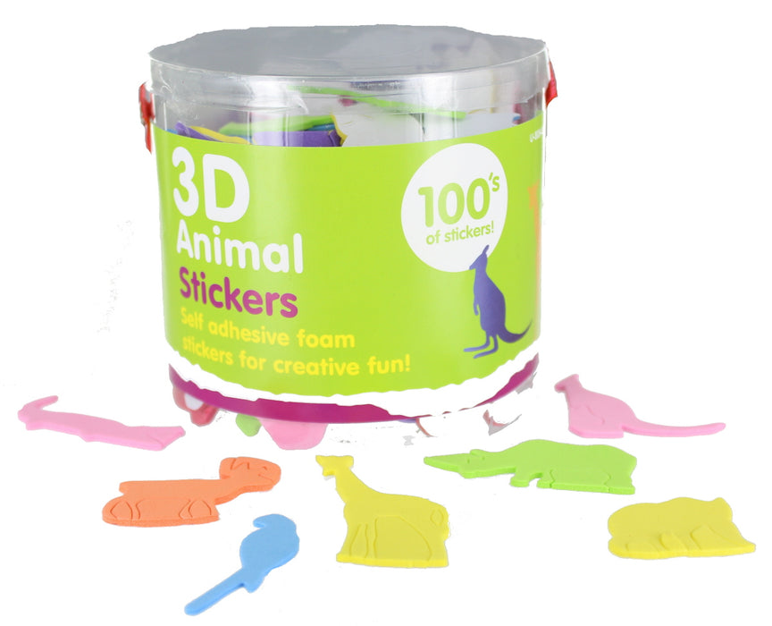 Children's Pack of 100 3D Foam Animals Self Adhesive Stickers Craft Accessories