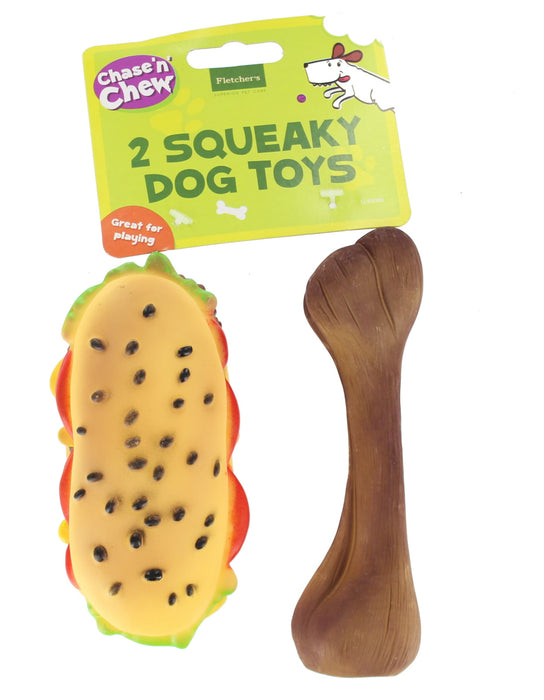 Chase n Chew 2 Pack Squeaky Fast Food Dog/ Puppy Toy Gift-Sandwich & Bone