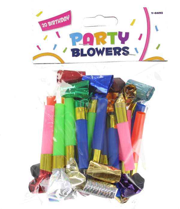 Let's Party 20 Party Blowers Blowouts Birthday Bag Filler Noise Toy Foil Colors