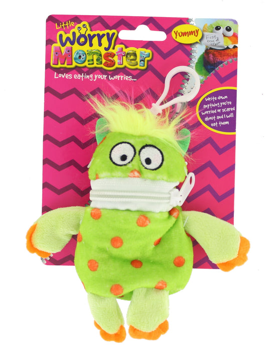 "Children's Bright Coloured Mini Worry Monster Clip On Soft Plush Toy 5.5""-Green"