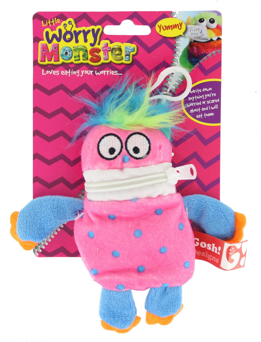 "Children's Bright Coloured Mini Worry Monster Clip On Soft Plush Toy 5.5""-Pink"