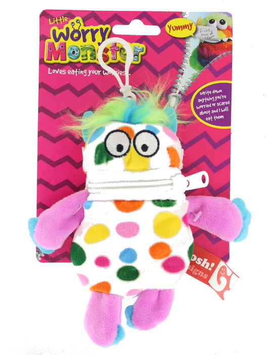 "Children's Bright Coloured Mini Worry Monster Clip On Soft Plush Toy 5.5""-White"