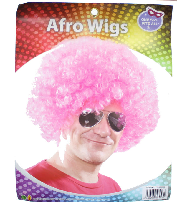 Afro Curly Wig Fancy Multi Colour Party Funky Clown Hair Disco Circus Fancy Dress-Pink