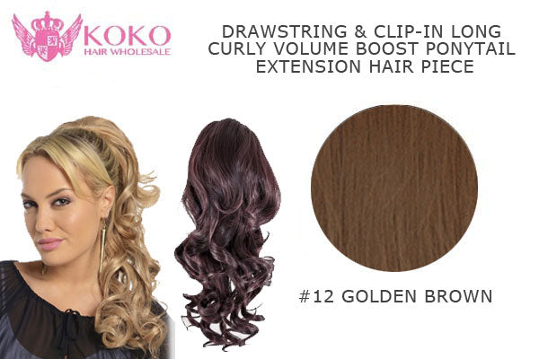 18� Drawstring & Clip-In Long Curly Volume Boost Ponytail Extension Hair Piece-#12 Golden Brown