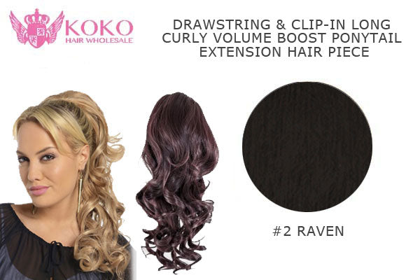 18� Drawstring & Clip-In Long Curly Volume Boost Ponytail Extension Hair Piece-#2 Raven