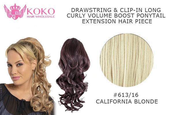 18� Drawstring & Clip-In Long Curly Volume Boost Ponytail Extension Hair Piece-#613/16 California Blonde