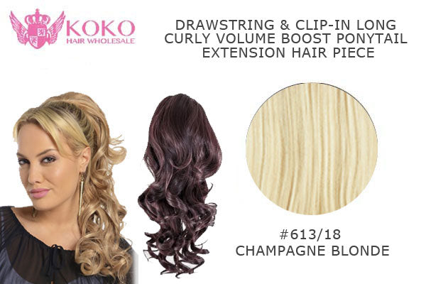 18� Drawstring & Clip-In Long Curly Volume Boost Ponytail Extension Hair Piece-#613/18 Champagne Blonde