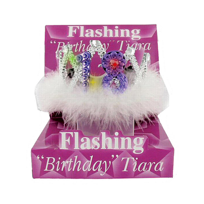 18th Birthday Flashing Tiara with White Fur Party Accessory