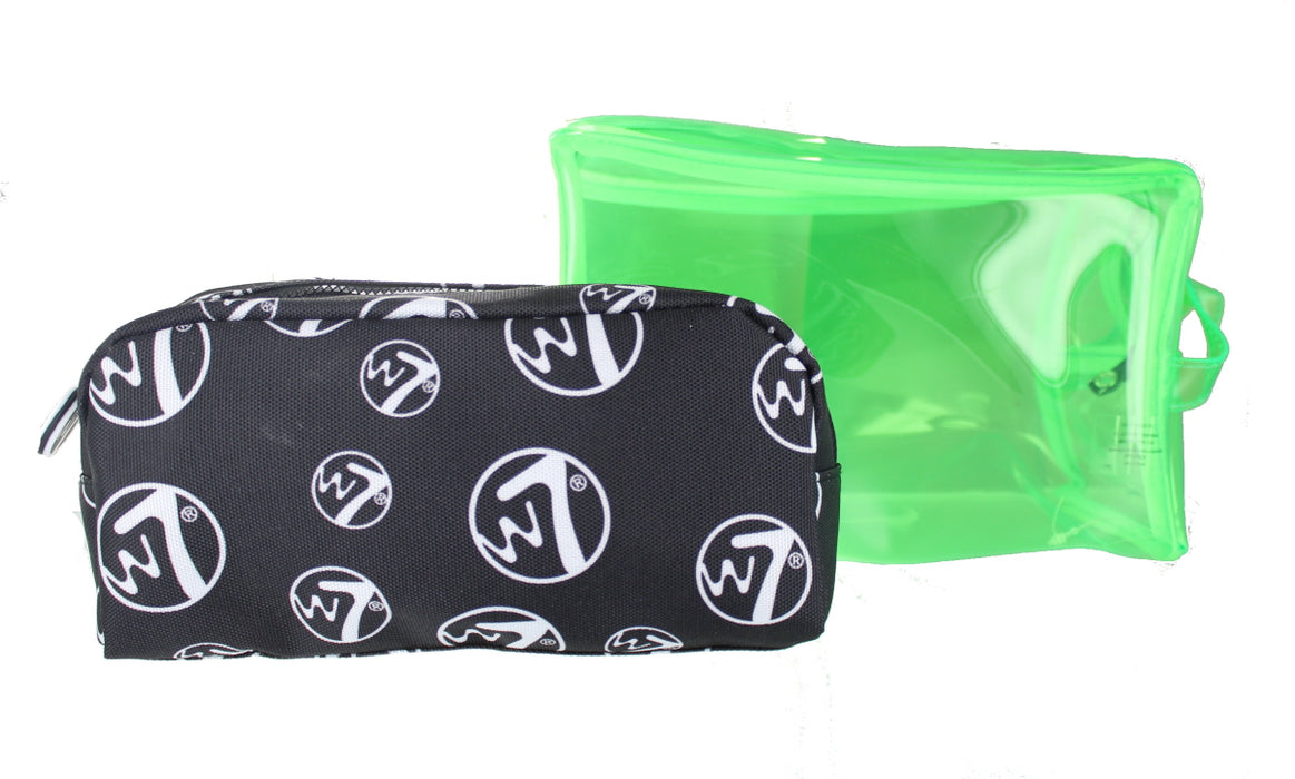 W7 2 Piece Large PVC & Medium Cosmetic Toiletry Make Up Bag Set-Green