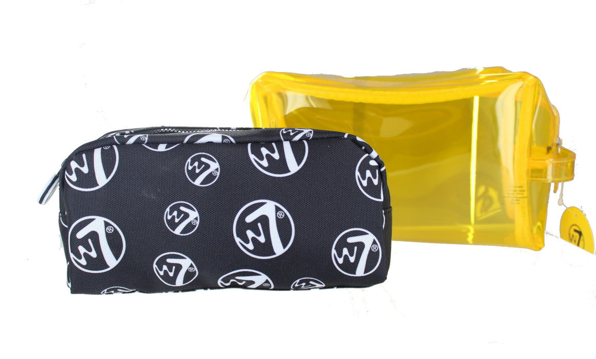 W7 2 Piece Large PVC & Medium Cosmetic Toiletry Make Up Bag Set-Yellow
