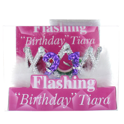 21st Birthday Flashing Tiara with White Fur Trim Party Accessory