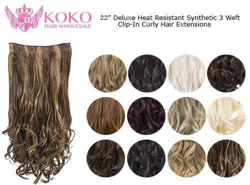 "22"" Deluxe Heat Resistant Synthetic 3 Weft Clip-In Curly Hair Extensions"