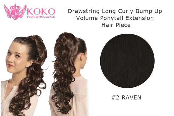 22� Drawstring Long Curly Bump Up Volume Ponytail Extension Hair Piece-#2 Raven