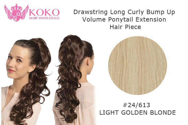 "22"" Drawstring Long Curly Bump Up Volume Ponytail Extension Hair Piece-#24/613 Light Golden Blonde"