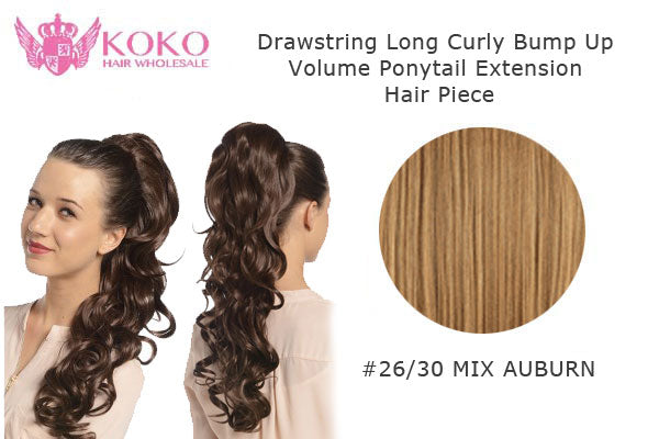 "22"" Drawstring Long Curly Bump Up Volume Ponytail Extension Hair Piece-#26/30 Mix Auburn"