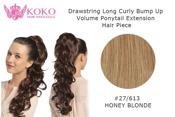 22� Drawstring Long Curly Bump Up Volume Ponytail Extension Hair Piece-#27/613 Honey Blonde