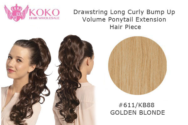 22� Drawstring Long Curly Bump Up Volume Ponytail Extension Hair Piece-#611/KB88 Golden Blonde
