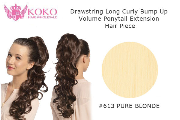 22� Drawstring Long Curly Bump Up Volume Ponytail Extension Hair Piece-#613 Pure Blonde