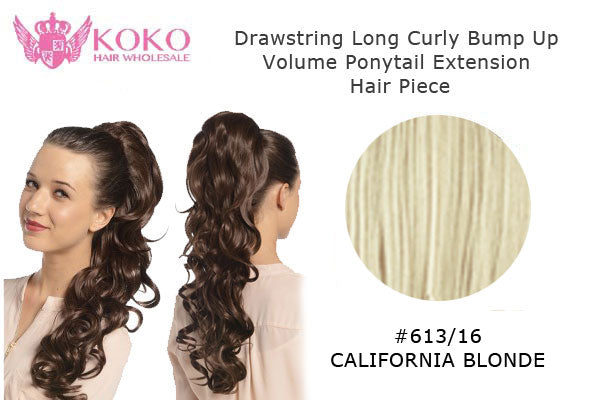 22� Drawstring Long Curly Bump Up Volume Ponytail Extension Hair Piece-#613/16 California Blonde
