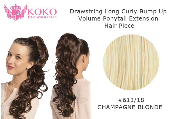 22� Drawstring Long Curly Bump Up Volume Ponytail Extension Hair Piece-#613/18 Champagne Blonde
