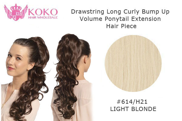 22� Drawstring Long Curly Bump Up Volume Ponytail Extension Hair Piece-#614H21 Light Blonde