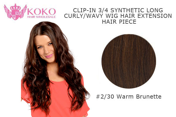 "26""  Clip-In 3/4 Synthetic Long Curly Wavy Hair Extension Half Head Piece-#2/30 Warm Brunette"