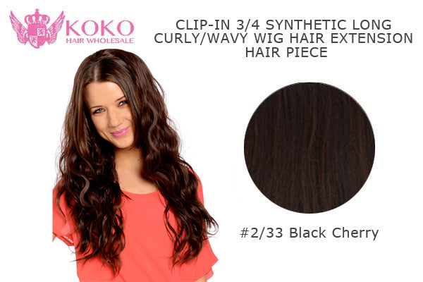 "26""  Clip-In 3/4 Synthetic Long Curly Wavy Hair Extension Half Head Piece-#2/33 Black Cherry"