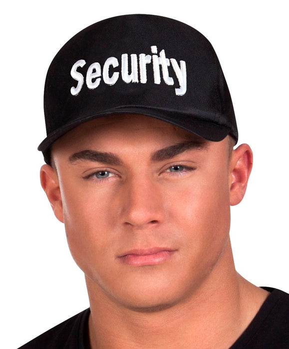 Black 'Security' Cap Adjustable Size Fancy Dress Accessory