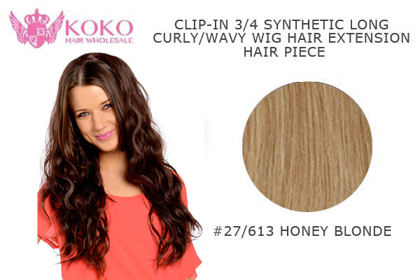"26""  Clip-In 3/4 Synthetic Long Curly Wavy Hair Extension Half Head Piece-#27/613 Honey Blonde"