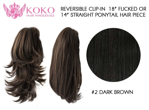 "Reversible Clip-In 18"" Flicked Or 14"" Straight Ponytail Hair Piece-#2 Dark Brown"