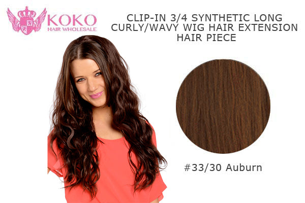 "26""  Clip-In 3/4 Synthetic Long Curly Wavy Hair Extension Half Head Piece-#33/30 Auburn"