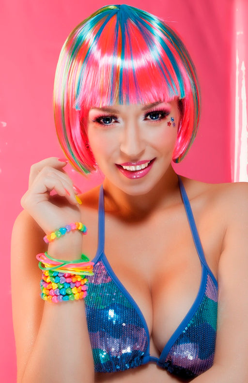 Short Bob Multicoloured Bright Neon Rave Wig With Fringe Fancy Dress Accessory