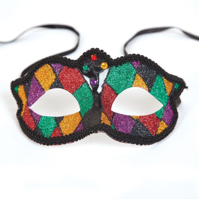 Adults Glitter Masquerade Marciana Eye Mask Fancy Dress Accessory-Multi Coloured